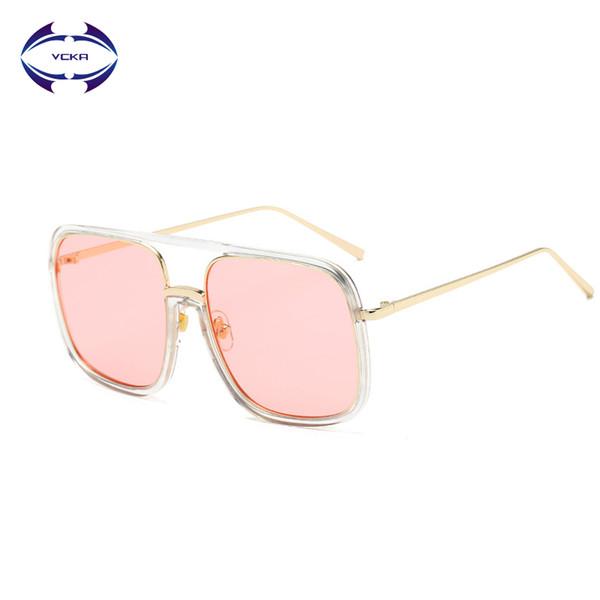 VCKA Oversize Quadrado Óculos De Sol Das Mulheres Dos Homens Da Marca Do Vintage  Designer UV400 e59fa5edda