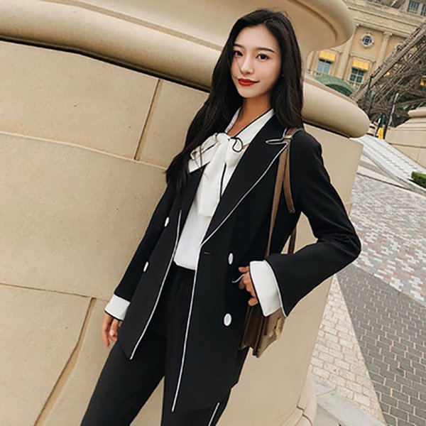 Customized new hot black small suit suit female fashion Slim temperament ladies shirt with trousers ladies two-piece suit