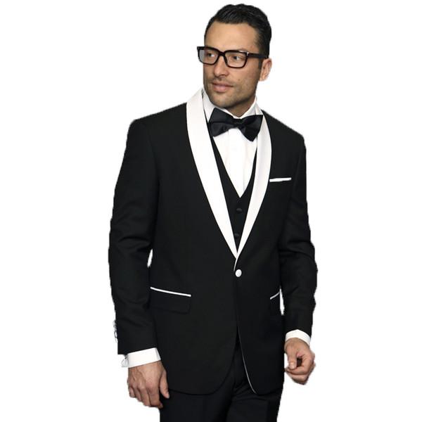 Black Groom Tuxedos Men Wedding Suits White Shawl Lapel Slim Fit Best Man Blazers 3 Pieces Jacket Pants Vest One Button Groomsmen Suits