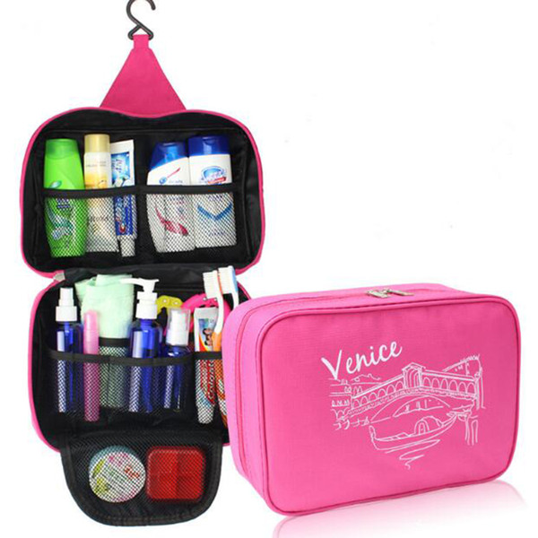top popular Multi-functional Waterproof make up Hanging Cosmetic Travel Bag Toiletry Neceser Wash Bag Makeup Organizer bag Four color in stock DHL ship 2019