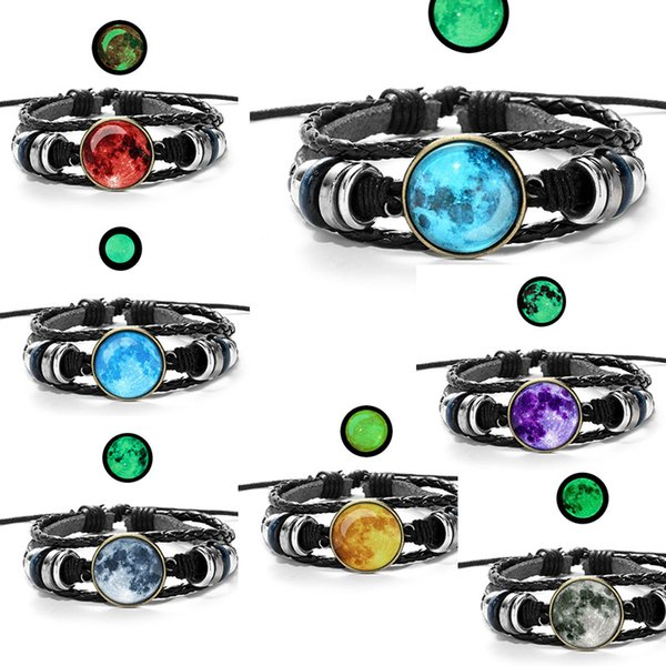fashion Luminous Star Series Bracelet Black Handmade time gemstone pendant Rope Weave Multilayer Leather Bracelet Glass Cabochon drop ship