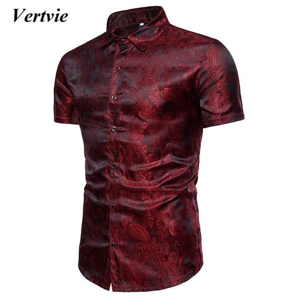 fitzgerald10 / VERTVIE Homens Camisas De Seda Brilhante Camisas de Manga Curta Slim Fit Camisas Sociais Chemise Homme Tops Casuais Plus Size 3XL