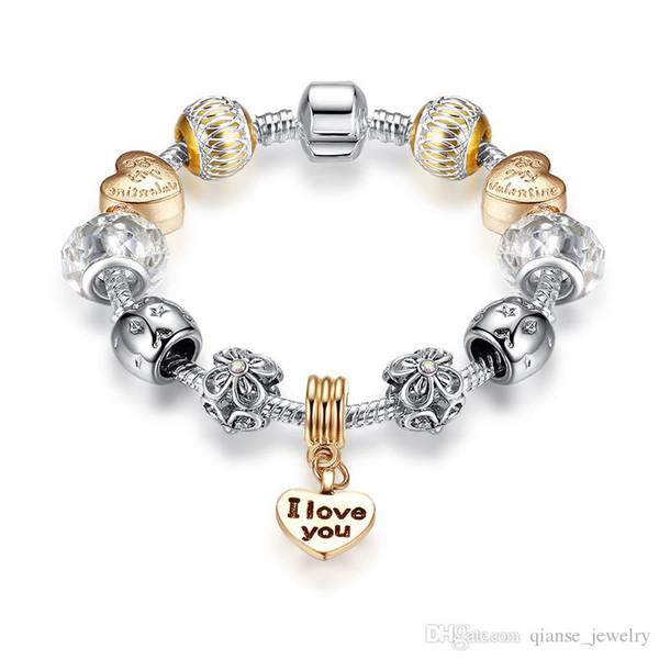 "For Valentine's Gift Rose Gold Heart Pendant Charm Bracelets with Letter ""I LOVE YOU"" European Style Crystal Star Beads Bracel"