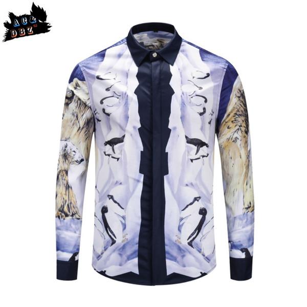 2018 new popular brand men's shirt Russian polar bear glacier printing European and American fashion casual shirt AC&DBZ