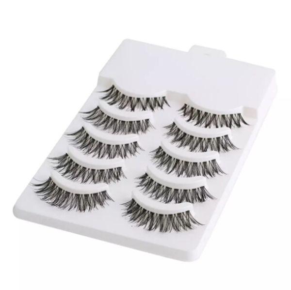 Vendita all'ingrosso 5 paia / set bellezza trucco mini mezzo angolo nero ciglia finte naturali eye lashes cosmetici