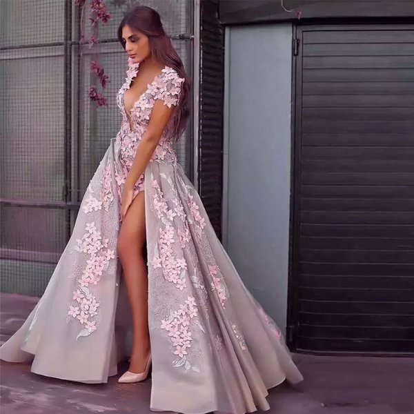 2018 A Line Prom Dresses Plunging V Neck Short Sleeves Pink 3D Flowers Lace Applique Side Split Low Back Long Evening Party Gowns