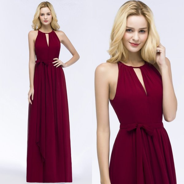 2018 Burgundy Chiffon Long Bridesmaid Dresses Halter Ruched Sash Floor Length Summer Beach Wedding Guest Evening Dresses CPS868