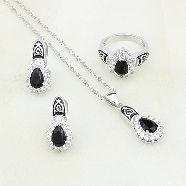Yağ Boya 925 Ayar Gümüş Takı Siyah Kristal Beyaz Zirkon Takı Setleri Kadınlar Için Damızlık Küpe / Yüzük / Kolye / Kolye