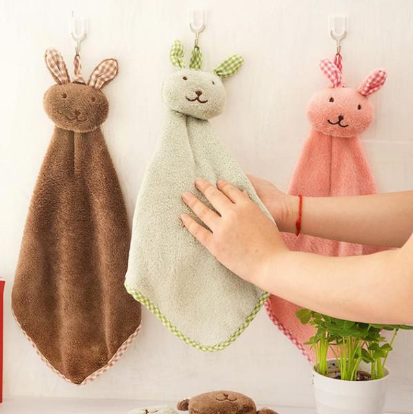 2018 new cute rabbit little square kitchen bathroom pendant towel coral plush towel absorbent