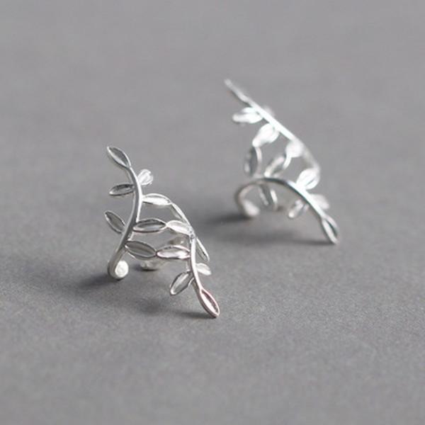 925 Hojas de plata esterlina Pendientes del manguito del oído No perforado No Hole Leaf Pendiente Regalo de la joyería para las mujeres Lady Girls DHL GRATIS