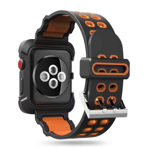 Smart Watch Silicone Band + Armor PC Frame cases defender Cover For iWatch Apple Watch Series4 Silicon Strap Sport Bracelet 40mm 44mm