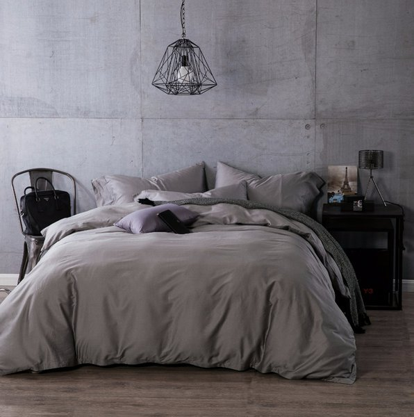 Luxury Egyptian cotton duvet cove flat sheet pillowcase 4pcs complete bedding sets Solid color grey queen king size