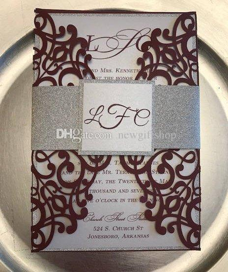 Luxury Burgundy Silver Glitter Wedding Invites With Envelope and Tags DIY Laser Cut Party Invitation Sets Free Shiping by DHL