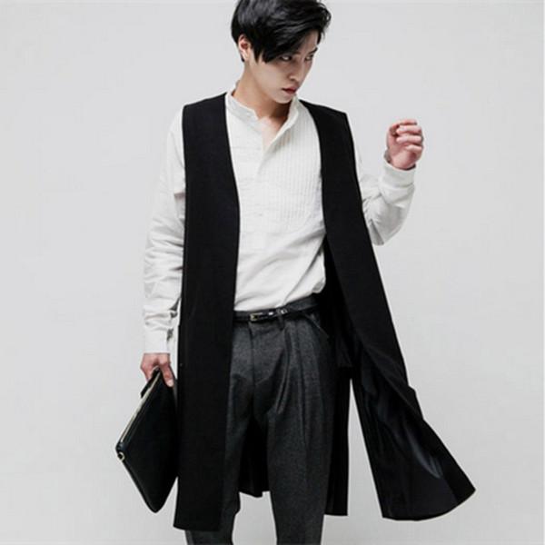 S-6XL 2018 New men's clothing Hair Stylist GD Fashion long style Suit Vest plus size stage singer costumes