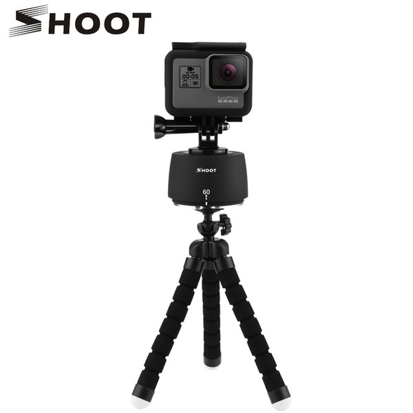 SHOOT 360 Degrees Rotating Panning Ball Head Time Lapse Auto Rotate Tripod Head Base For  Yi 4k Action Camera Mobile Phone