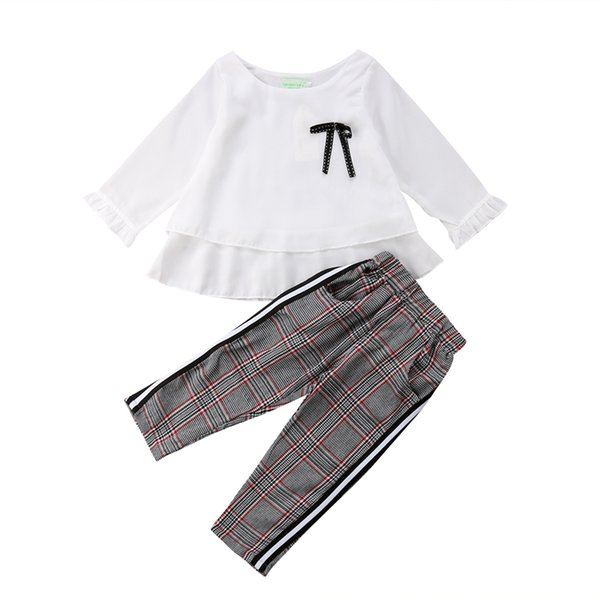Toddler Kid Baby Girl Chiffon Long Sleeve Tops T-shirt+Stripes Trousers Pants Casual Clothes