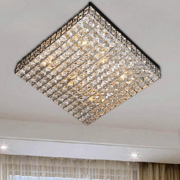 2019 Modern Luxury 40cm Square Crystal Beaded Ceiling Lights G9 Led Flush Mount Lamps Lamparas Moderna For Living Dinning Room Bedroom From