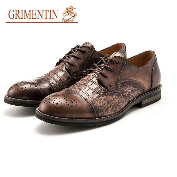 GRIMENTIN Formal Business Mens Shoe Hot Sale Brand Men Oxford Shoes Genuine Leather Crocodile Grain Designer Large Size Male Dress Shoes KS
