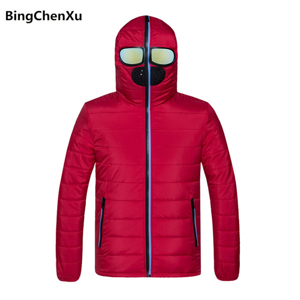 Winter Jacket Men Hooded Stylish Fashion Red Warm Parkas Casual Solid Thick Jackets and Coats New Brand Men's Windbreakers 1100