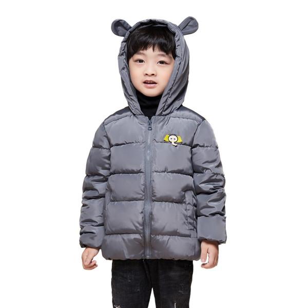Novas crianças jaquetas Parkas inverno jaqueta para menina dinossauro Padrão com capuz bebê criança meninos jaqueta crianças parka outerwear