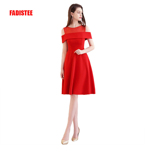 2018 elegant cocktail dresses evening dress party dresses short a-line modern boat neck satin classic see throught style