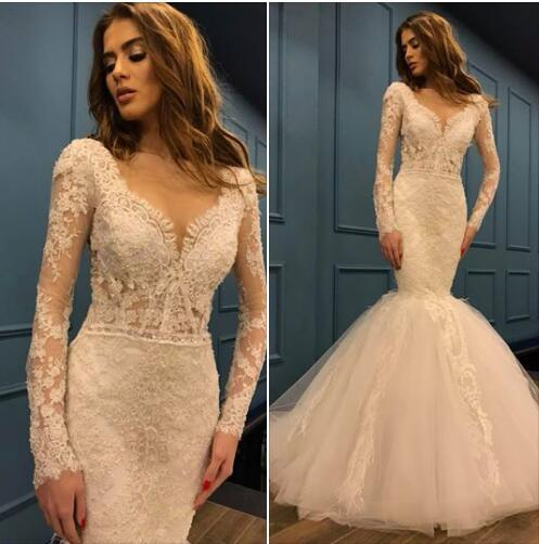 Vintage Mermaid Long Sleeve Lace Wedding Dresses 2019 Ivory Tulle Luxury Beach Wedding Gowns Patterns With Beads Black And White Wedding Dress Bridal