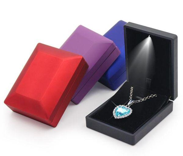 Led Lighted Caixa De Presente De Jóias Brinco Anel Neckalce De Armazenamento De Exibição De Casamento De Luxo Organizador De Armazenamento Para O Noivado