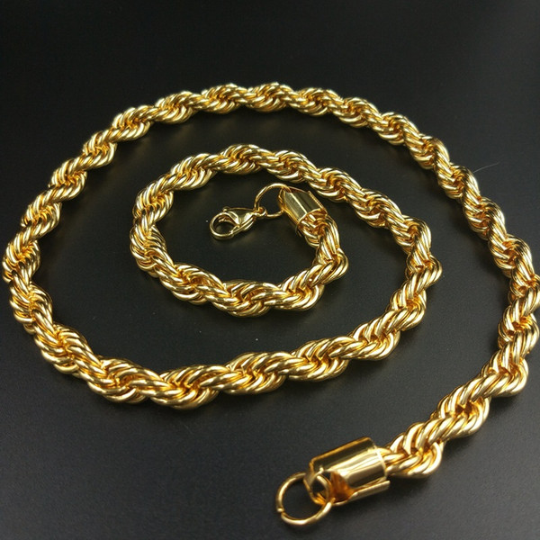 USENSET 18K Gold Plated Stainless Steel 4/6/8MM Twisted Rope Chain Women's Choker Necklace for Men Jewelry Gift Big Promotions !