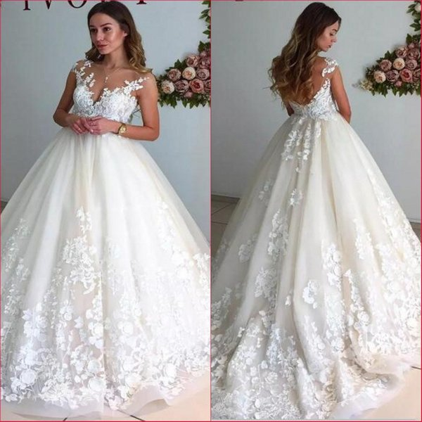 Discount Sheer Cap Sleeves Lace A Line Wedding Dresses 2018 Vintage ...