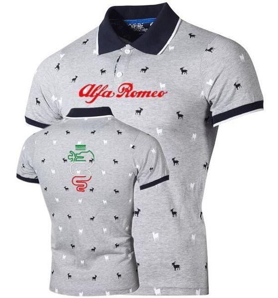 New Brand S Mens Alfa Romeo Printed Shirts Cotton Short Sleeve - Alfa romeo apparel