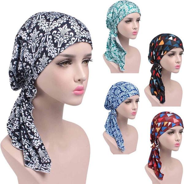 Frauen gedruckt Krebs Chemo Baumwolle Turban Kopfbedeckungen lässig angepasst Rüschen Bandanas muslimischen Kopftuch Multicolor 2018 Hot