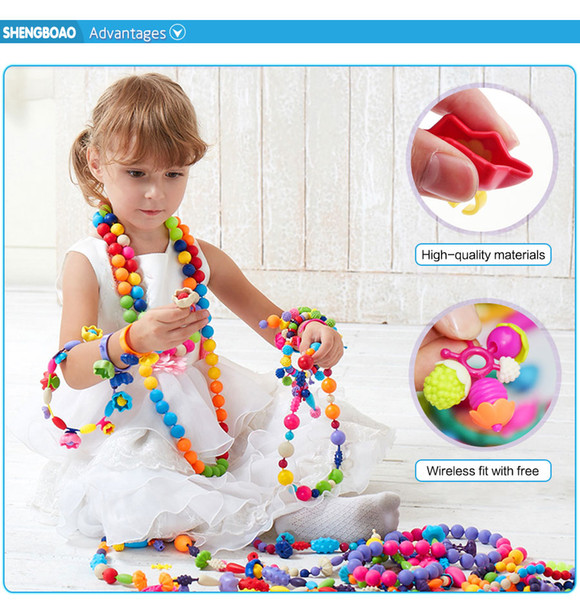 best selling 350pcs DIY Pop Beads Toys Candy Sugar Jewelry Puzzle Toys Handmade Plastic Pop Beaded Assembled Blocks for kids Girl