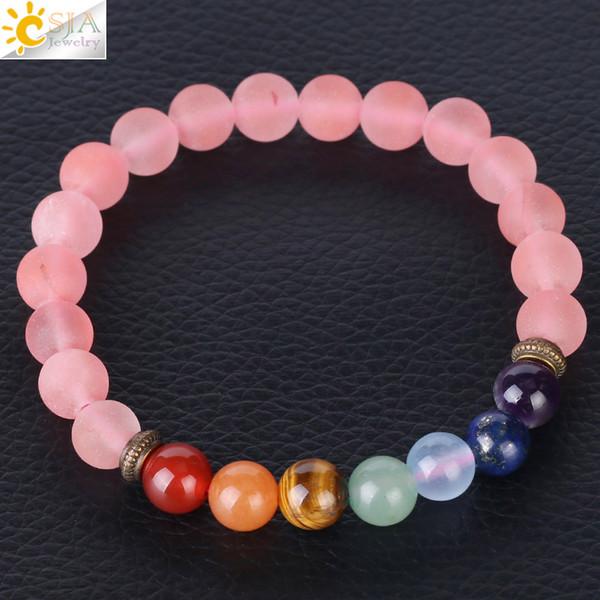 CSJA Reiki Healing Balance 7 Chakra Bracelet for Women Pink Natural Stone Bracelets Watermelon Crystal Round Bead Frosted Yoga Pulseras F381