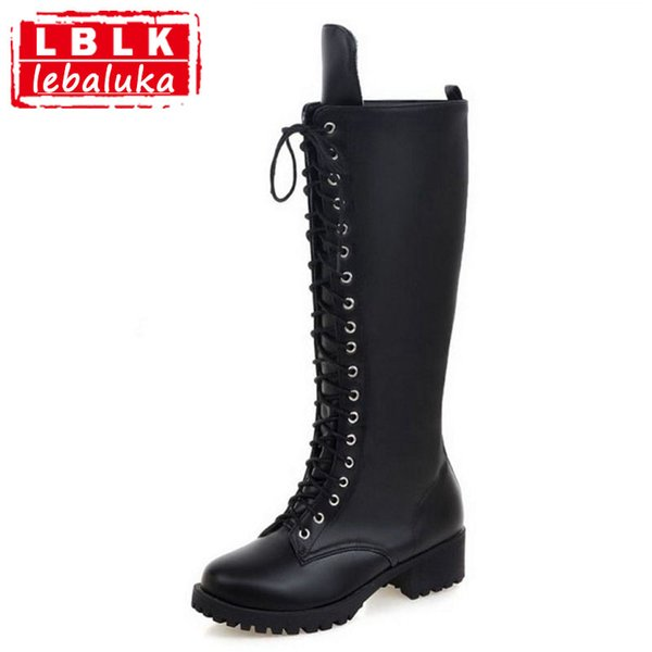 LebaLuka Size 34-43 Women Knee High Boots Cross Strap Winter Shoes Square Heel Round Toe Botas Female Gladiator Shoes
