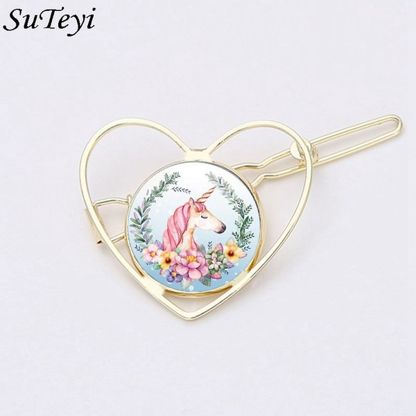 Suteyi Hollowed Heart Beautiful Flower Unicorn Hair Clip Round Glass Hairpins Holder For Women Girl Jewelry Accessories