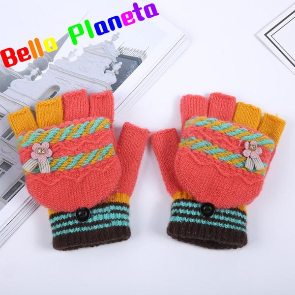 2018 Yeni Çevirme Kış Siyah Parmaksız Eldiven kadın Kaşmir Yün Eldiven Dokunmatik Ekran Yarım Parmak Öğrenci Ayakkabı Beş Parmak