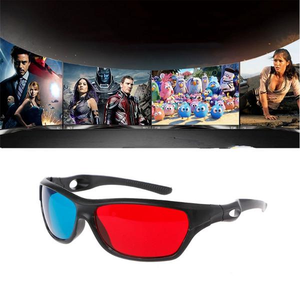 Popüler Evrensel Beyaz Çerçeve Kırmızı Mavi Anaglyph 3D Gözlük Film Oyunu DVD Video TV Için