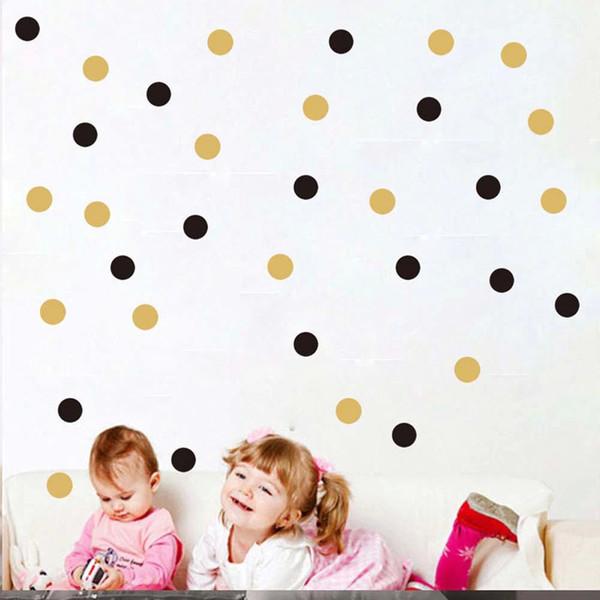 Puntos de oro Etiqueta de la pared Bebé Nursery Stickers Niños Golden Dots Niños Tatuajes de pared Decoración para el hogar DIY Vinilo Arte de la pared