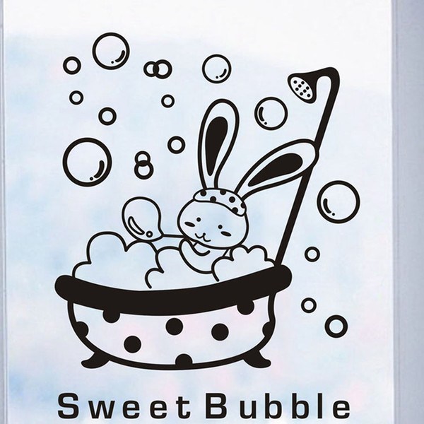 Glass door shower Adhesives animal sweet bubble wall sticker waterproof cute baby bathroom decoration Art Wall