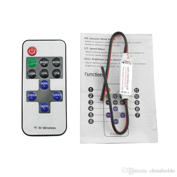 Car DC 5-24V Single Color Remote Controler Dimmer 11keys Mini Wireless RF LED Controller for LED Strip Light #3941