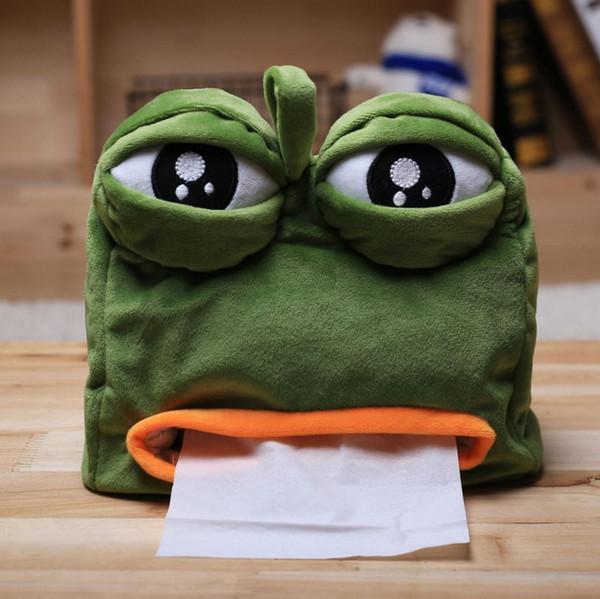 Cute Cartoon Sad Frog Tissue Box Garden Home Office Toilet Decorative Napkin Paper Container Napkin Holder Gift