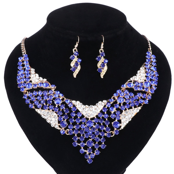 African Beads Jewellery Set Blue Crystal Wedding Necklace Set womens Clothing Accessories Bridal Jewelry Sets New Hot