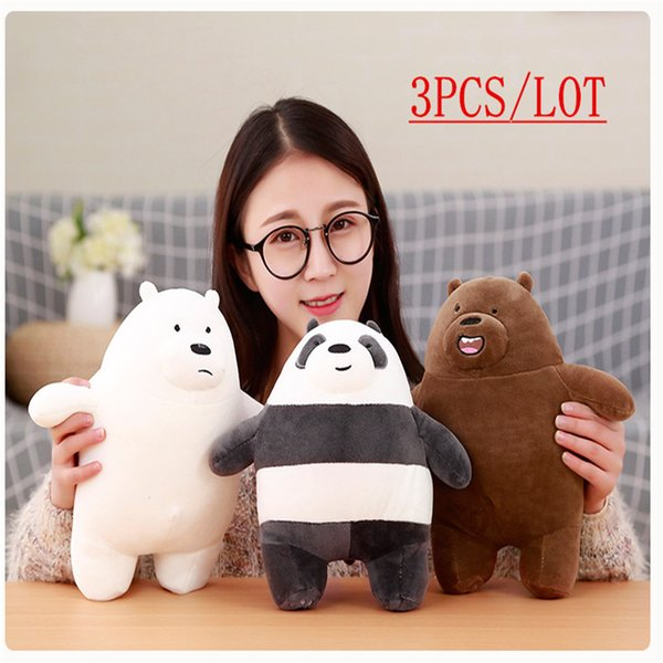 3PCS/Lot 30CM Mini Cute We Bare Bear Down Cotton Plush Toy Brown/white/Panda Bear Gifts For Kids