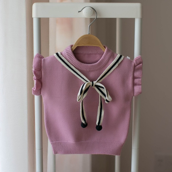 Fashion Baby Girls Sweaters Vest Clothes Autumn Winter Sweet Bow Tie Sleeveless Cute Knitted Vests Cotton Girls Waistcoat Tops