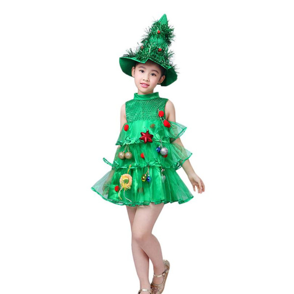 Hot Sale Toddler New Year Costume Christmas Dress Tree Tops Party Vest+Hat Outfits Girls Dress Vestido Infantil