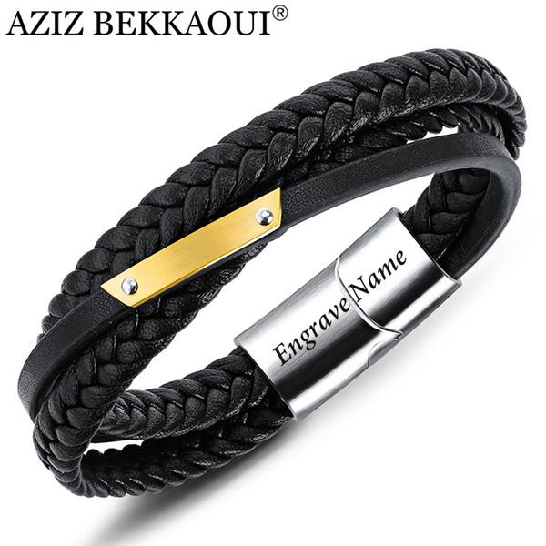 AZIZ BEKKAOUI Genuine Leather Bracelet Punk Engrave Name Stainless Steel Bangles Male DIY LOGO Rope Chain Bracelet Dropshipping