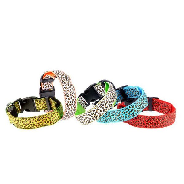 Pet Supplies Traction Leopard Print 5 Color Luminous Dog LED Collar Pet Collar Puppy Rope Collar Traction Rope MOQ:10pcs Free Shipping