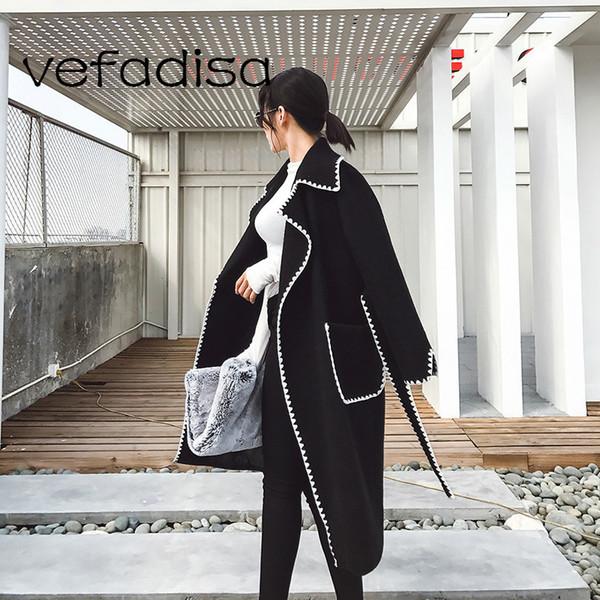 Vefadsia 2017 Осень Новый Кружева Квадратный Воротник Длинный Шерстяной Пальто Корея Тонкий Бандаж Пояс Плюс Размер Женщины Пальто Пальто Q077