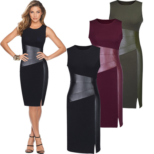Sexy Women Sleeveless Patchwork PU Leather Dress Wine Red Black Army Green Low  Cut Bodycon Evening Party Pencil Dress Clothes af7994141
