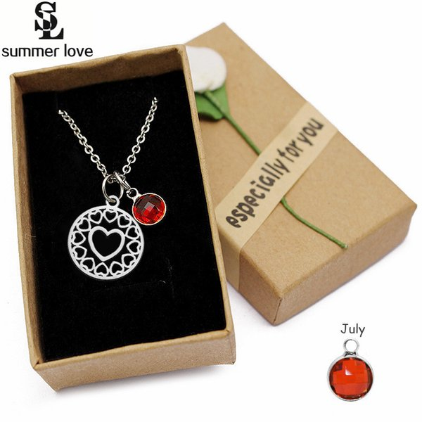 whole saleSimply stainless steel love heart pendant necklace charm color birthstone girls women crystal jewellery christmas party gift